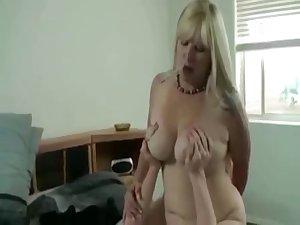 Busty blond mom fucks stepson