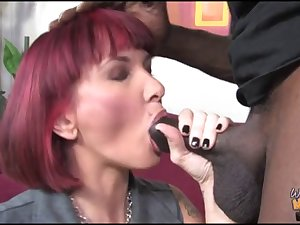 White mom fucked by black in ass in front of son