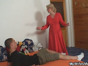 Naughty mother-in-law takes him