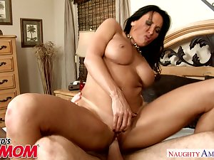 Horny mom Lezley Zen chokes on her son's friend's dick - Naughty..