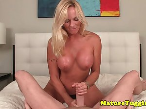 Busty stepmom stroking stepsons dick pov