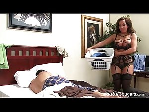 Busty cougar Jade Lane seduces stepson