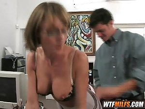 Hot MILF with glasses has nice tits and loves young cock 3