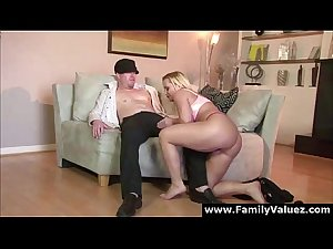 Blonde milf stepmother sucks young cock in family play