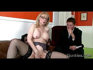 Slutty glasses MILF in stockings mounts sons boss in his..