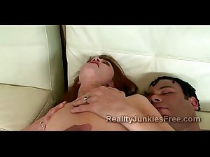 Perv son watches his readhead freak mother ride huge black dick