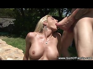 Blonde mommy rides stepsons cock