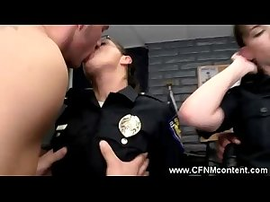 The horny milfs get bent over the police deks by the prisoners